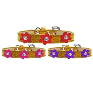 Metallic Flower Ice Cream Dog Collar - Gold | The Pet Boutique