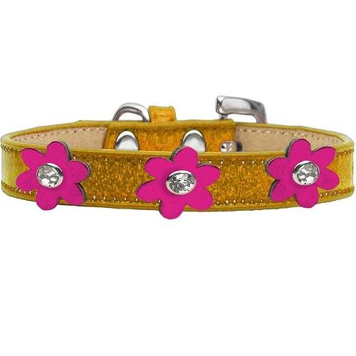 Metallic Flower Ice Cream Dog Collar - Gold With Metallic Pink Flowers | The Pet Boutique