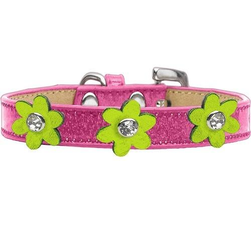 Metallic Flower Ice Cream Dog Collar - Pink With Lime Green Flowers | The Pet Boutique