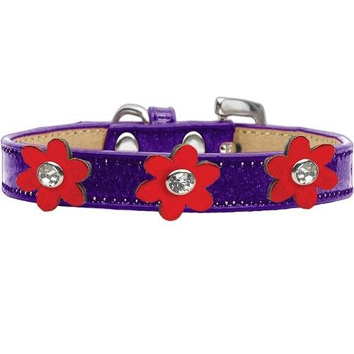 Metallic Flower Ice Cream Dog Collar - Purple With Red Flowers | The Pet Boutique