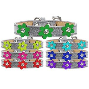 Metallic Flower Ice Cream Dog Collar - Silver | The Pet Boutique