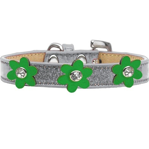 Metallic Flower Ice Cream Dog Collar - Silver With Emerald Green Flowers | The Pet Boutique