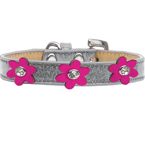 Metallic Flower Ice Cream Dog Collar - Silver With Pink Flowers | The Pet Boutique