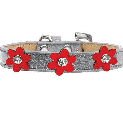 Metallic Flower Ice Cream Dog Collar - Silver With Red Flowers | The Pet Boutique