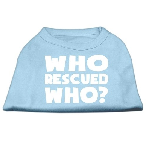 Who Rescued Who? Screen Print Dog Shirt - Baby Blue | The Pet Boutique
