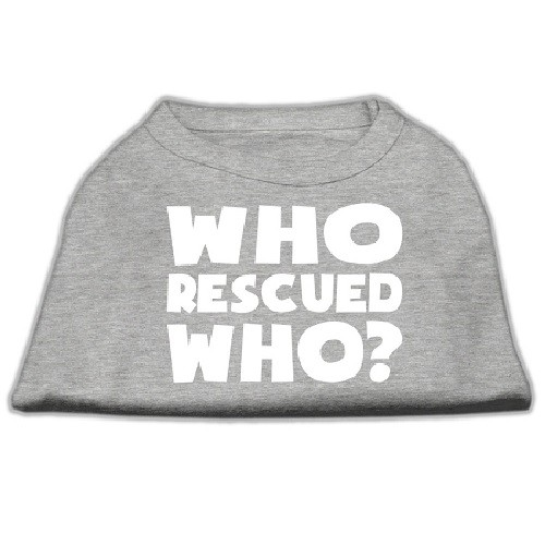 Who Rescued Who? Screen Print Dog Shirt - Grey | The Pet Boutique