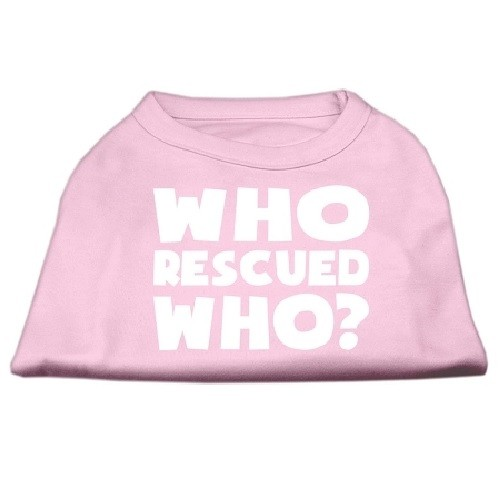 Who Rescued Who? Screen Print Dog Shirt - Light Pink | The Pet Boutique