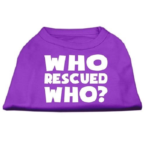 Who Rescued Who? Screen Print Dog Shirt - Purple | The Pet Boutique