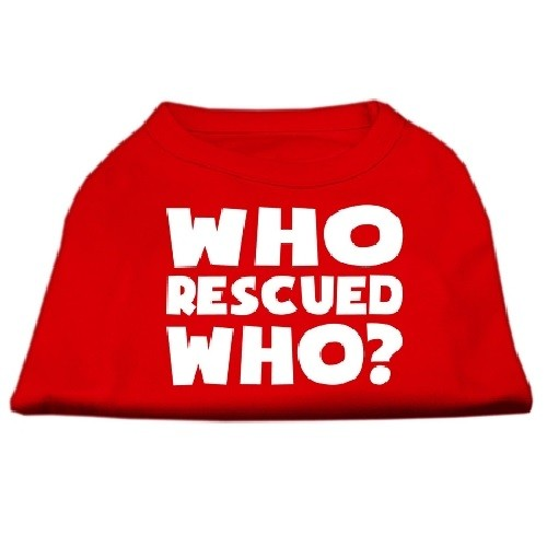 Who Rescued Who? Screen Print Dog Shirt - Red | The Pet Boutique