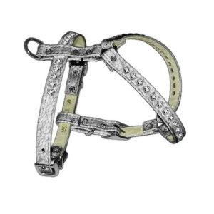 Crystal Comfort Dog Harness with Clear Stones - Silver | The Pet Boutique