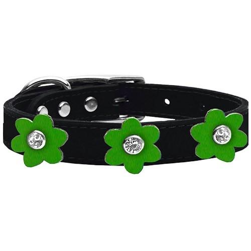 Flower Leather Dog Collar - Black With Emerald Green Flowers | The Pet Boutique