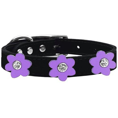 Flower Leather Dog Collar - Black With Lavender Flowers | The Pet Boutique