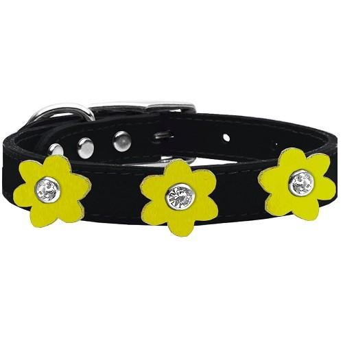 Flower Leather Dog Collar - Black With Yellow Flowers | The Pet Boutique