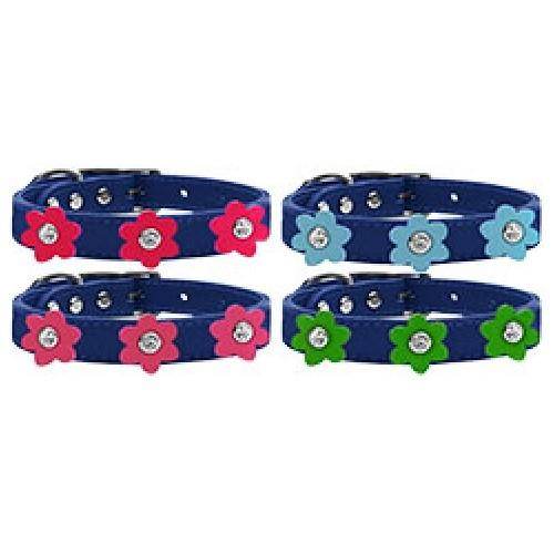 Flower Leather Dog Collar - Blue   The Pet Boutique