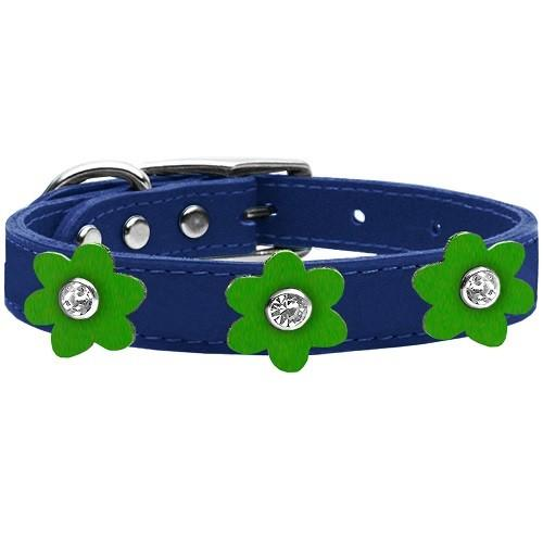 Flower Leather Dog Collar - Blue With Emerald Green Flowers   The Pet Boutique