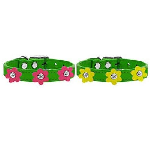 Flower Leather Dog Collar - Emerald Green   The Pet Boutique