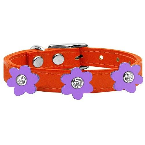 Flower Leather Dog Collar - Orange With Lavender Flowers   The Pet Boutique