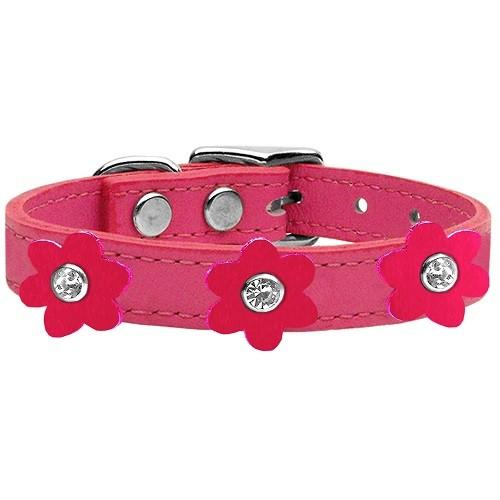 Flower Leather Dog Collar - Pink With Bright Pink Flowers   The Pet Boutique