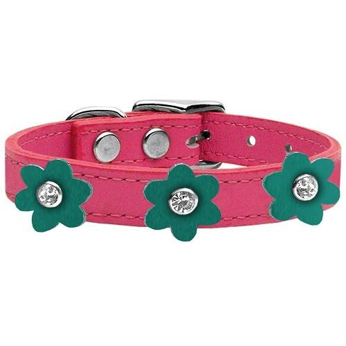 Flower Leather Dog Collar - Pink With Jade Flowers   The Pet Boutique