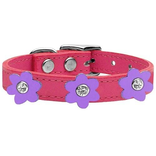 Flower Leather Dog Collar - Pink With Lavender Flowers   The Pet Boutique