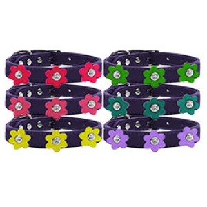 Flower Leather Dog Collar - Purple | The Pet Boutique