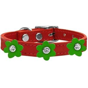 Flower Leather Dog Collar - Red With Emerald Green Flowers | The Pet Boutique
