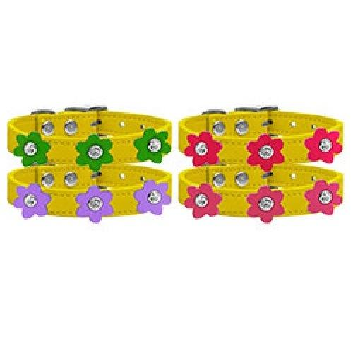 Flower Leather Dog Collar - Yellow   The Pet Boutique