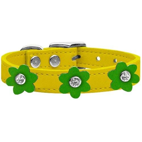 Flower Leather Dog Collar - Yellow With Emerald Green Flowers   The Pet Boutique