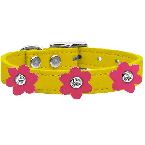 Flower Leather Dog Collar - Yellow With Pink Flowers   The Pet Boutique