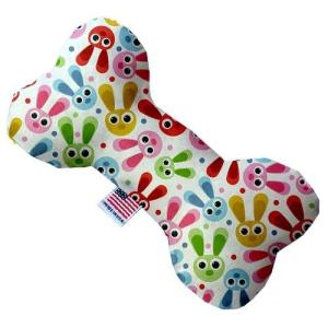 Funny Bunnies Canvas Bone Dog Toy   The Pet Boutique
