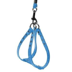 Glossy Patent Step-In Dog Harness - Baby Blue | The Pet Boutique