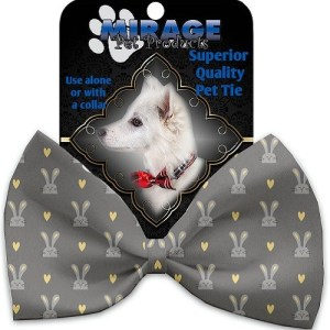 Gray Bunnies Pet Bow Tie Collar Accessory with Velcro | The Pet Boutique