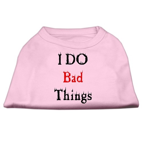 I Do Bad Things Screen Print Dog Shirt - Light Pink | The Pet Boutique