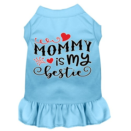 Mommy Is My Bestie Screen Print Dog Dress - Baby Blue | The Pet Boutique