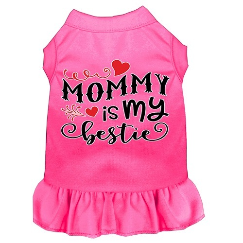 Mommy Is My Bestie Screen Print Dog Dress - Bright Pink | The Pet Boutique