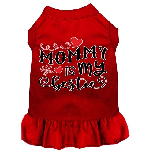 Mommy Is My Bestie Screen Print Dog Dress - Red | The Pet Boutique