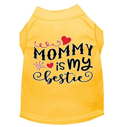 Mommy Is My Bestie Screen Print Dog Shirt - Yellow   The Pet Boutique
