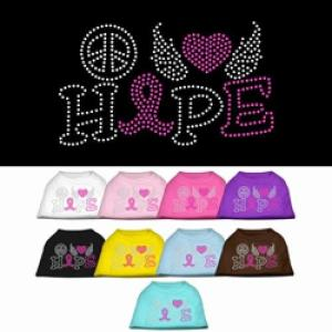 Peace, Love, Hope, Breast Cancer Rhinestone Dog Shirt | The Pet Boutique