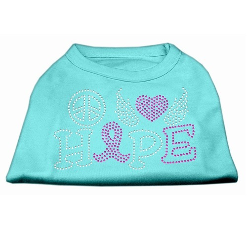 Peace, Love, Hope, Breast Cancer Rhinestone Dog Shirt - Aqua | The Pet Boutique