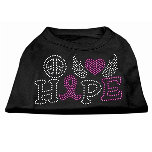 Peace, Love, Hope, Breast Cancer Rhinestone Dog Shirt - Black | The Pet Boutique
