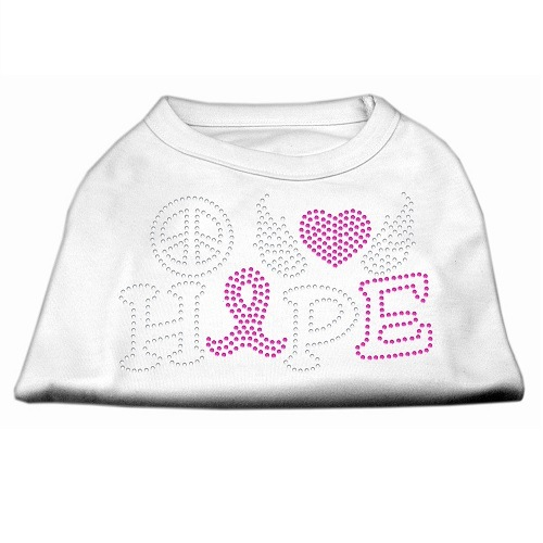 Peace, Love, Hope, Breast Cancer Rhinestone Dog Shirt - White | The Pet Boutique
