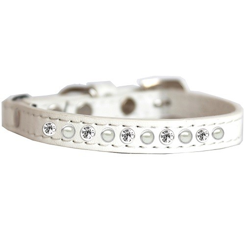 Pearl and Clear Jewel Cat Safety Collar - White | The Pet Boutique