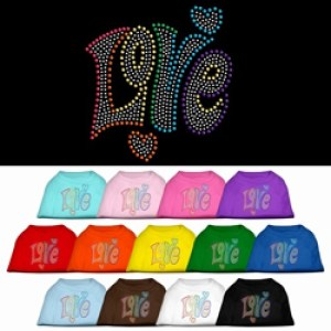 Technicolor Love Rhinestone Dog Shirt | The Pet Boutique
