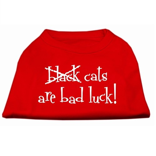 Black Cats Are Bad Luck Screen Print Pet Shirt - Red | The Pet Boutique