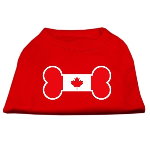 Bone Shaped Canadian Flag Screen Print Dog Shirt - Red | The Pet Boutique