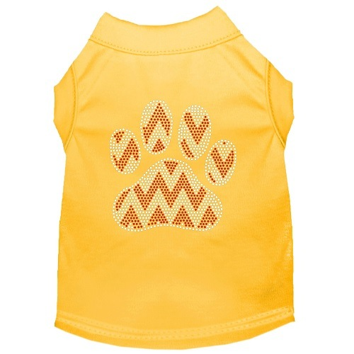 Candy Cane Chevron Paw Rhinestone Dog Shirt - Yellow | The Pet Boutique