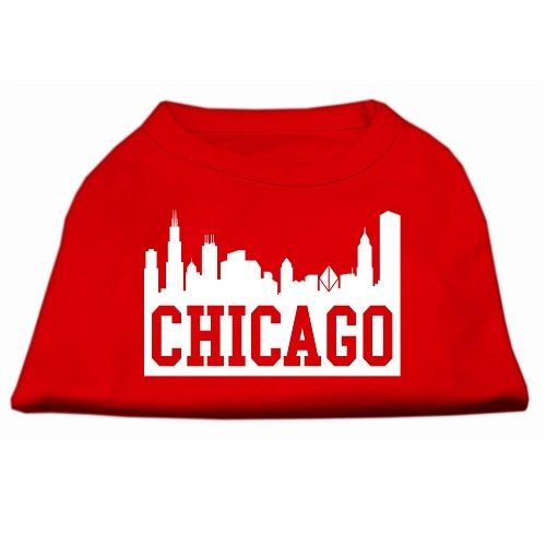 Chicago Skyline Screen Print Pet Shirt - Red | The Pet Boutique