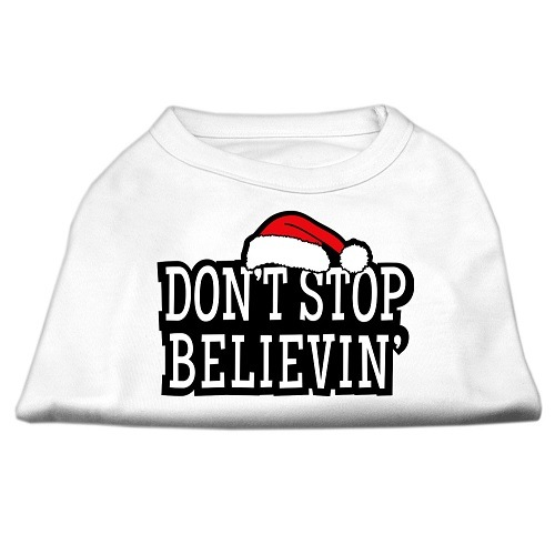 Don't Stop Believin' Screen Print Pet Shirt - White | The Pet Boutique