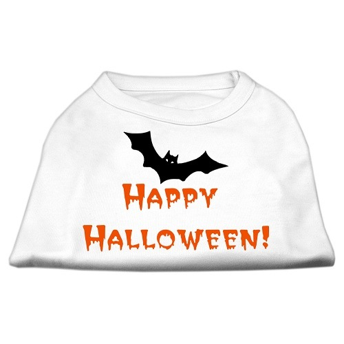 Happy Halloween Screen Print Dog Shirt - White | The Pet Boutique