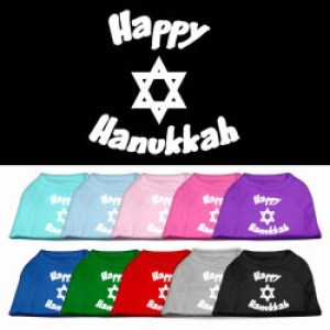 Happy Hanukkah Screen Print Pet Shirt | The Pet Boutique